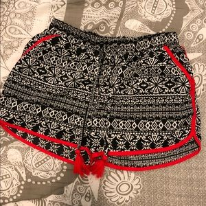 Other - Girls Red Trimmed Flowy Shorts